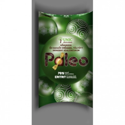 Paleo töltött étcsokoládé szaloncukor rumos kakaós, kókuszos ízű krémmel töltve édesítőszerrel, etrittel 250 g | Rubik kocka