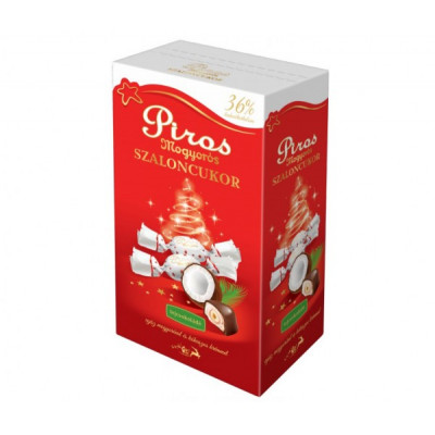 Egész erdei mogyorós szaloncukor kókuszkrémben, valódi tejcsokoládéval bevonva 36% kakaótartalom 345g