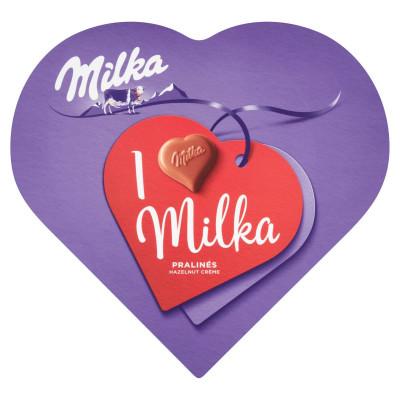 Milka I love Milka alpesi tejcsokoládé praliné mogyorós krémtöltelékkel
